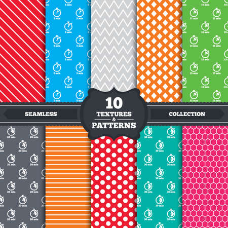 15 to 20: Seamless patterns and textures. Timer icons. 5, 15, 20 and 30 minutes stopwatch symbols. Endless backgrounds with circles, lines and geometric elements. Vector