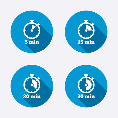 min: Timer icons. 5, 15, 20 and 30 minutes stopwatch symbols. Circle concept web buttons. Vector Illustration