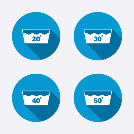 washable: Wash icons. Machine washable at 20, 30, 40 and 50 degrees symbols. Laundry washhouse signs. Circle concept web buttons. Vector