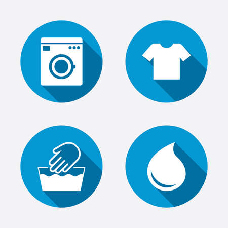 washhouse: Wash machine icon. Hand wash. T-shirt clothes symbol. Laundry washhouse and water drop signs. Not machine washable. Circle concept web buttons. Vector