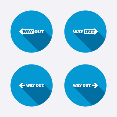 escape route: Way out icons. Left and right arrows symbols. Direction signs in the subway. Circle concept web buttons. Vector Illustration
