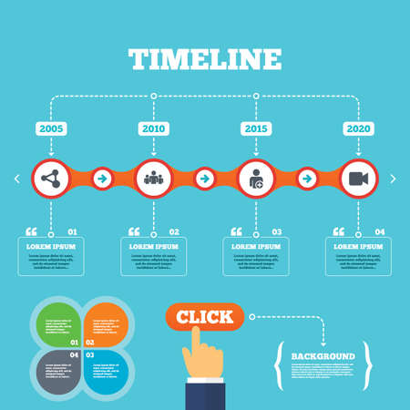 click hand: Timeline with arrows and quotes. Group of people and share icons. Add user and video camera symbols. Communication signs. Four options steps. Click hand. Vector