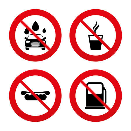 automated: No, Ban or Stop signs. Petrol or Gas station services icons. Automated car wash signs. Hotdog sandwich and hot coffee cup symbols. Prohibition forbidden red symbols. Vector