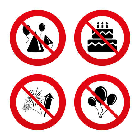 No, Ban or Stop signs. Birthday party icons. Cake, balloon, hat and muffin signs. Fireworks with rocket symbol. Double decker with candle. Prohibition forbidden red symbols. Vector