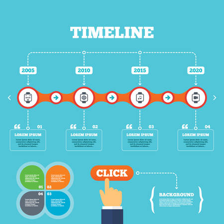 watch video: Timeline with arrows and quotes. Smart watch icons. Wrist digital time watch symbols. Music, Video, Globe internet and wi-fi signs. Four options steps. Click hand. Vector