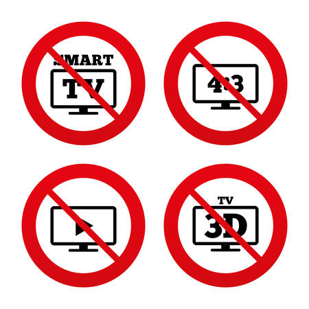 3d mode: No, Ban or Stop signs. Smart TV mode icon. Aspect ratio 4:3 widescreen symbol. 3D Television sign. Prohibition forbidden red symbols. Vector