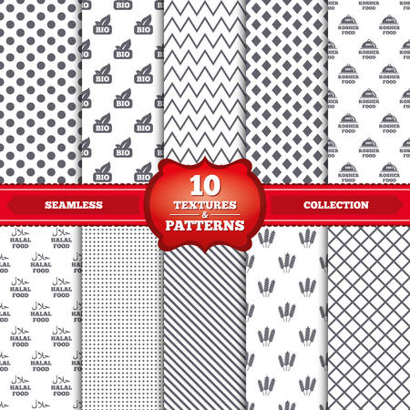 Repeatable patterns and textures. Natural Bio food icons. Halal and 100% Kosher signs. Gluten free agricultural symbol. Gray dots, circles, lines on white background. Vector Vector