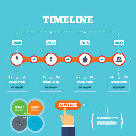 Timeline with arrows and quotes. Birthday party icons. Cake with ice cream signs. Air balloon with rope symbol. Four options steps. Click hand. Vector