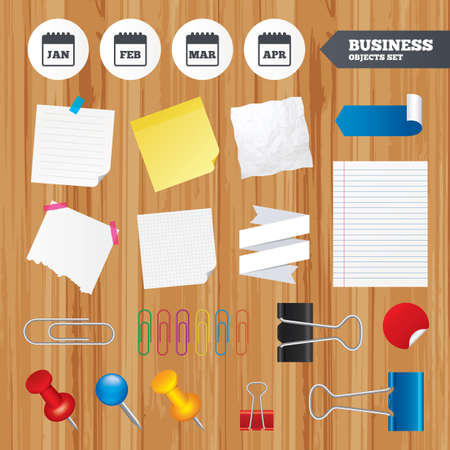 meeting agenda: Paper sheets. Office business stickers, pin, clip. Calendar icons. January, February, March and April month symbols. Date or event reminder sign. Squared, lined pages. Vector