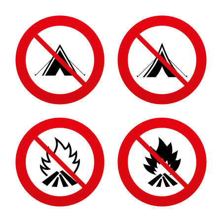 no label: No, Ban or Stop signs. Tourist camping tent icons. Fire flame sign symbols. Prohibition forbidden red symbols. Vector Illustration