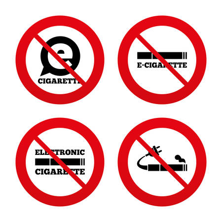 no label: No, Ban or Stop signs. E-Cigarette with plug icons. Electronic smoking symbols. Speech bubble sign. Prohibition forbidden red symbols. Vector