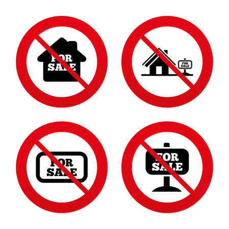 house for sale: No, Ban or Stop signs. For sale icons. Real estate selling signs. Home house symbol. Prohibition forbidden red symbols. Vector