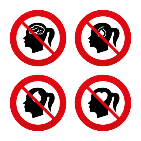 forbidden love: No, Ban or Stop signs. Head with brain icon. Female woman think symbols. Blood drop donation signs. Love heart. Prohibition forbidden red symbols. Vector Illustration