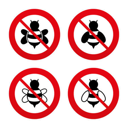 pollinating: No, Ban or Stop signs. Honey bees icons. Bumblebees symbols. Flying insects with sting signs. Prohibition forbidden red symbols. Vector