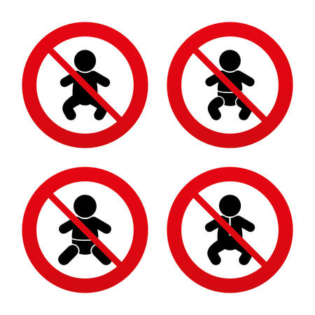 No, Ban or Stop signs. Information icons. Stop prohibition and attention caution signs. Approved check mark symbol. Prohibition forbidden red symbols. Vector Vector