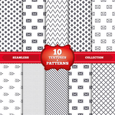 webmail: Repeatable patterns and textures. Mail envelope icons. Message delivery symbol. Post office letter signs. Gray dots, circles, lines on white background. Vector