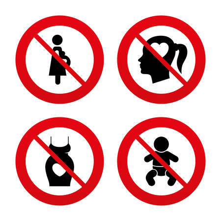 No, Ban or Stop signs. Maternity icons. Baby infant, pregnancy and dress signs. Head with heart symbol. Prohibition forbidden red symbols. Vector Vector