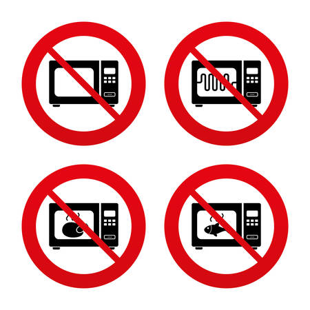 No, Ban or Stop signs. Microwave oven icons. Cook in electric stove symbols. Grill chicken and fish signs. Prohibition forbidden red symbols. Vector