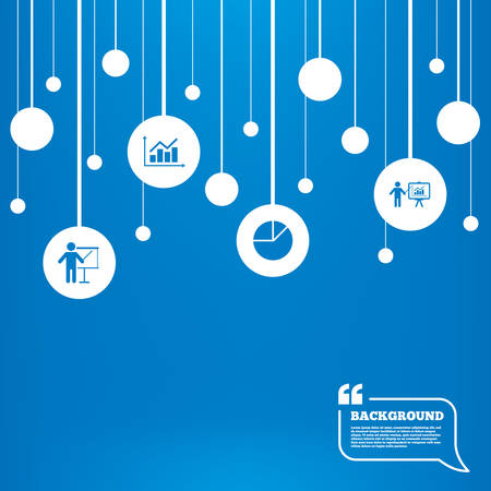 Circles background with lines. Diagram graph Pie chart icon. Presentation billboard symbol. Supply and demand. Man standing with pointer. Icons tags hanged on the ropes. Vector Illustration
