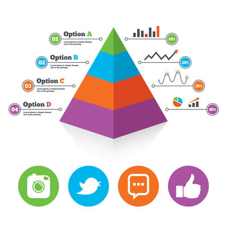 chat up: Pyramid chart template. Hipster photo camera icon. Like and Chat speech bubble sign. Hand thumb up. Bird symbol. Infographic progress diagram. Vector