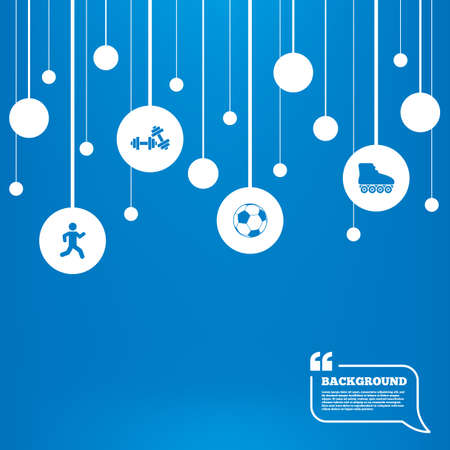 rollerblades: Circles background with lines. Football ball, Roller skates, Running icons. Fitness sport symbols. Gym workout equipment. Icons tags hanged on the ropes. Vector Illustration