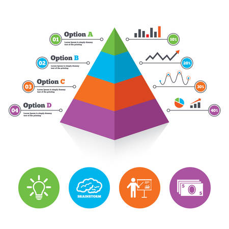 standing lamp: Pyramid chart template. Presentation billboard, brainstorm icons. Cash money and lamp idea signs. Man standing with pointer. Scheme and Diagram symbol. Infographic progress diagram. Vector Illustration