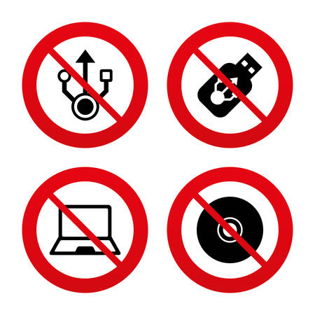 ultrabook: No, Ban or Stop signs. Usb flash drive icons. Notebook or Laptop pc symbols. CD or DVD sign. Compact disc. Prohibition forbidden red symbols. Vector