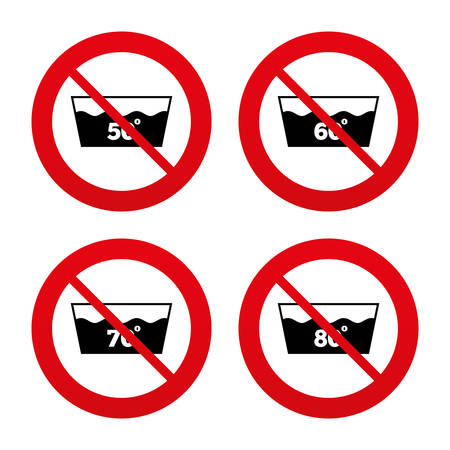 washable: No, Ban or Stop signs. Wash icons. Machine washable at 50, 60, 70 and 80 degrees symbols. Laundry washhouse signs. Prohibition forbidden red symbols. Vector