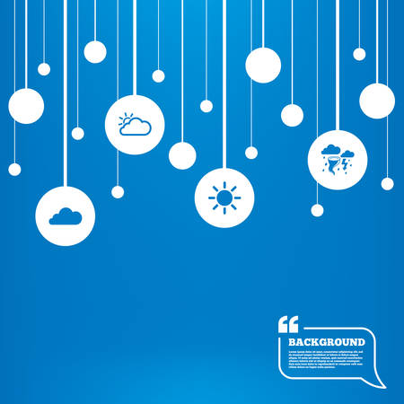 gale: Circles background with lines. Weather icons. Cloud and sun signs. Storm or thunderstorm with lightning symbol. Gale hurricane. Icons tags hanged on the ropes. Vector Illustration