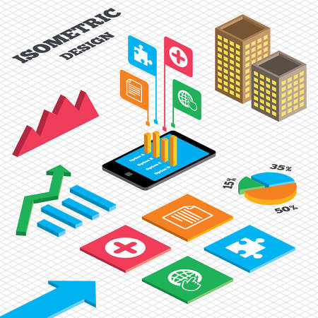 puzzle globe: Isometric design. Graph and pie chart. Plus add circle and puzzle piece icons. Document file and globe with hand pointer sign symbols. Tall city buildings with windows. Vector
