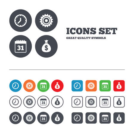 currency symbol: Business icons. Calendar and mechanical clock signs. Dollar money bag and gear symbols. Web buttons set. Circles and squares templates. Vector Illustration
