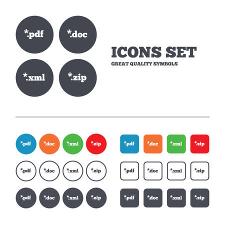 Document icons. File extensions symbols. PDF, ZIP zipped, XML and DOC signs. Web buttons set. Circles and squares templates. Vector