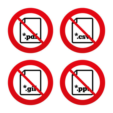 csv: No, Ban or Stop signs. Download document icons. File extensions symbols. PDF, GIF, CSV and PPT presentation signs. Prohibition forbidden red symbols. Vector Illustration
