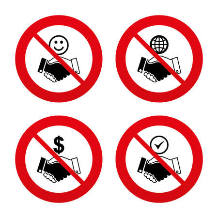 amicable: No, Ban or Stop signs. Handshake icons. World, Smile happy face and house building symbol. Dollar cash money. Amicable agreement. Prohibition forbidden red symbols. Vector Illustration