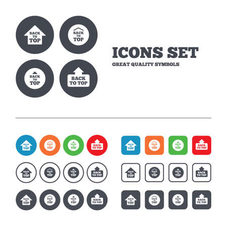 scroll up: Back to top icons. Scroll up with arrow sign symbols. Web buttons set. Circles and squares templates. Vector
