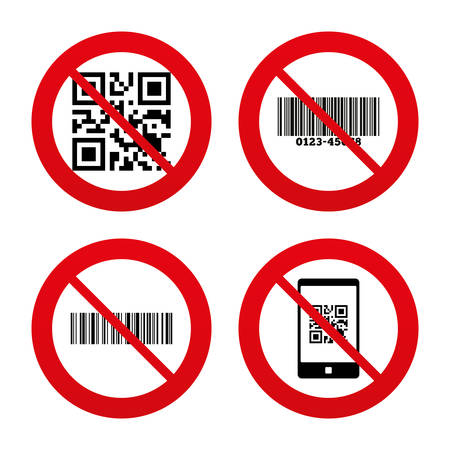 barcode scan: No, Ban or Stop signs. Bar and Qr code icons. Scan barcode in smartphone symbols. Prohibition forbidden red symbols. Vector Illustration