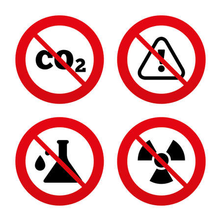 No, Ban or Stop signs. Attention and radiation icons. Chemistry flask sign. CO2 carbon dioxide symbol. Prohibition forbidden red symbols. Vector Vector