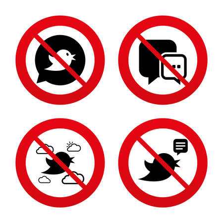 three dots: No, Ban or Stop signs. Birds icons. Social media speech bubble. Chat bubble with three dots symbol. Prohibition forbidden red symbols. Vector Illustration