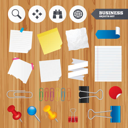 fullscreen: Paper sheets. Office business stickers, pin, clip. Magnifier glass and globe search icons. Fullscreen arrows and binocular search sign symbols. Squared, lined pages. Vector Illustration
