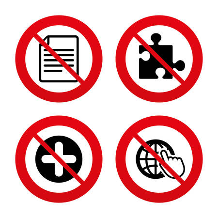 puzzle globe: No, Ban or Stop signs. Plus add circle and puzzle piece icons. Document file and globe with hand pointer sign symbols. Prohibition forbidden red symbols. Vector Illustration
