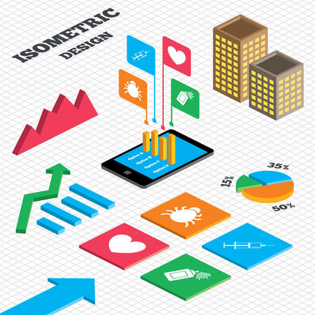 acarus: Isometric design. Graph and pie chart. Bug and vaccine syringe injection icons. Heart and spray can sign symbols. Tall city buildings with windows. Vector
