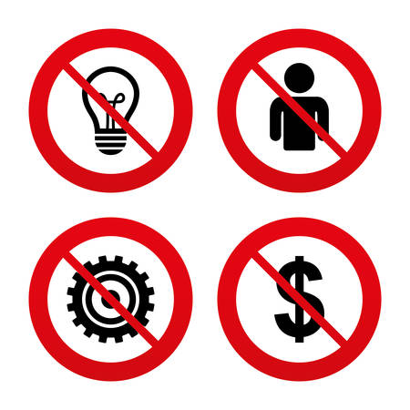 No, Ban or Stop signs. Business icons. Human silhouette and lamp bulb idea signs. Dollar currency and gear symbols. Prohibition forbidden red symbols. Vector Vector