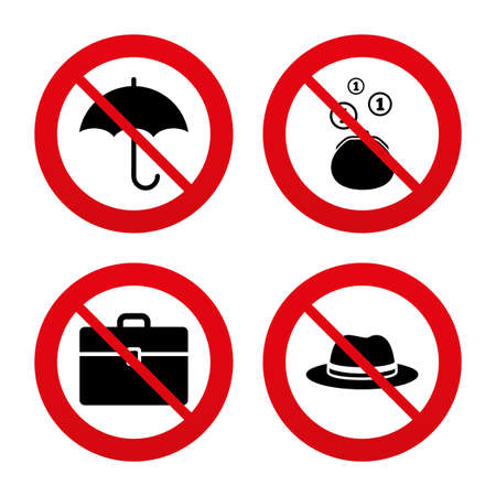 business case: No, Ban or Stop signs. Clothing accessories icons. Umbrella and headdress hat signs. Wallet with cash coins, business case symbols. Prohibition forbidden red symbols. Vector Illustration