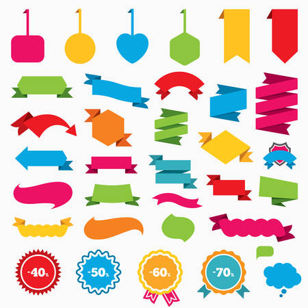 low prizes: Web stickers, tags and banners. Sale discount icons. Special offer price signs. 40, 50, 60 and 70 percent off reduction symbols. Speech bubbles and award labels. Vector