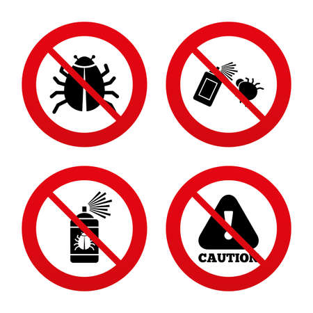insanitary: No, Ban or Stop signs. Bug disinfection icons. Caution attention symbol. Insect fumigation spray sign. Prohibition forbidden red symbols. Vector