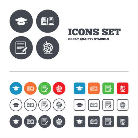Pencil with document and open book icons. Graduation cap and geography globe symbols. Learn signs. Web buttons set. Circles and squares templates. Vector Vector