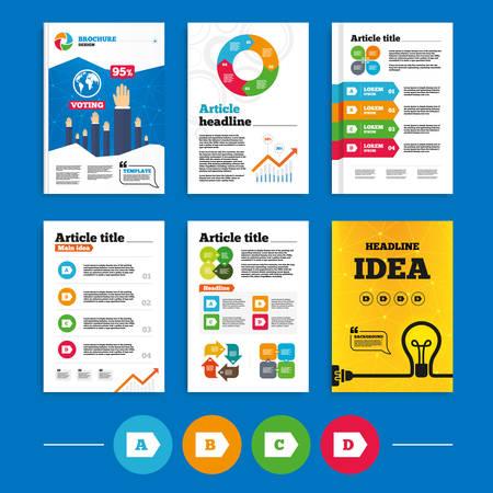 consumo energia: Brochure o volantini di progettazione. Classe di efficienza energetica icone. Energia simboli consumo segno. Classe A, B, C e D. Affari risultati del sondaggio infografica. Vettore Vettoriali