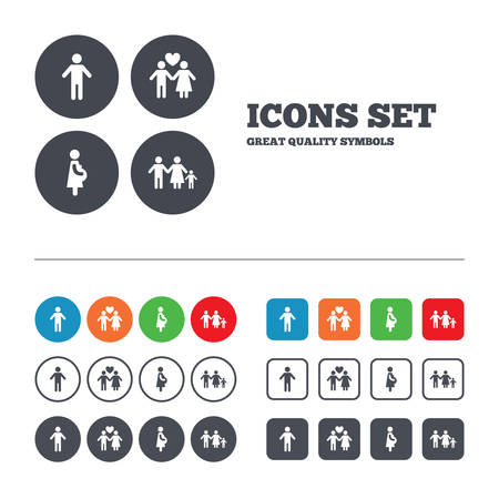 birth sign: Family lifetime icons. Couple love, pregnancy and birth of a child symbols. Human male person sign. Web buttons set. Circles and squares templates. Vector Illustration