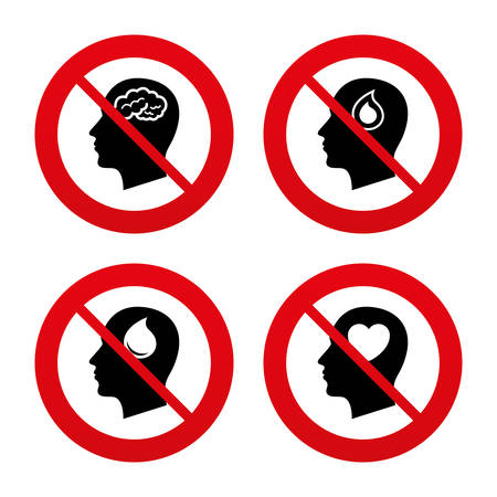forbidden love: No, Ban or Stop signs. Head with brain icon. Male human think symbols. Blood drop donation sign. Love heart. Prohibition forbidden red symbols. Vector Illustration