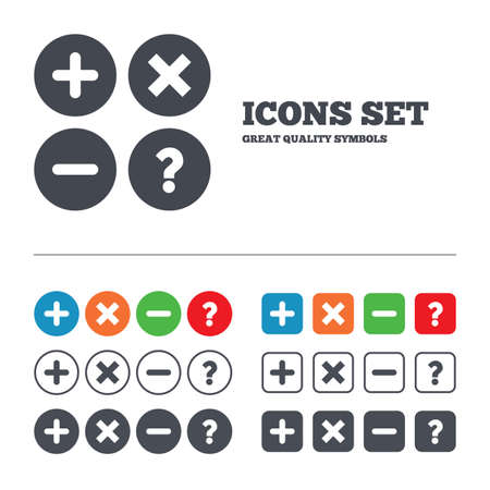 Plus and minus icons. Delete and question FAQ mark signs. Enlarge zoom symbol. Web buttons set. Circles and squares templates. Vector